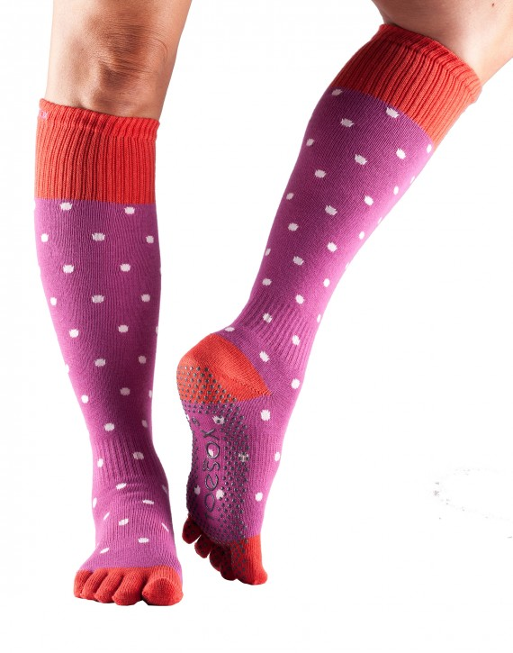 Full-Toesox Scrunch KNEEHIGH S / Poppy Polka (Hellrot / Pink)