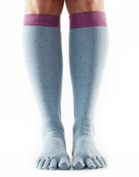 Full-Toesox Scrunch Knee High M / Polka (pigeon grey with lilac border)