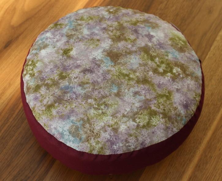 ESPARTO Yoga Meditation Cushion Alpaca filling, Wine Red floral