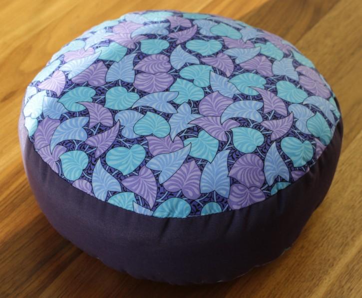 Yoga Meditation Cushion Alpaca, Violet / striped leaves