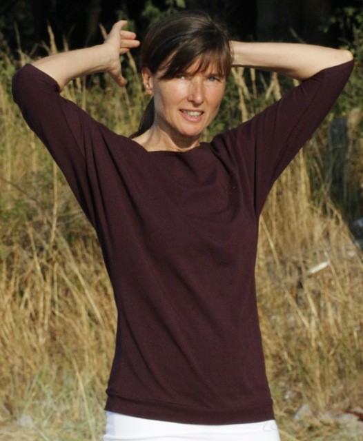 "Esparto Half-Sleeve Shirt ""Sadaa"" XS / Aubergine"