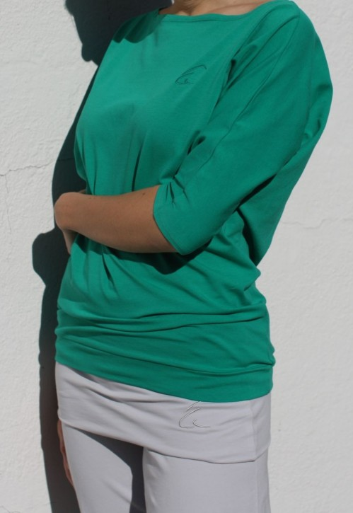 "Esparto Half-Sleeve Shirt ""Sadaa"" XS / Emerald Green"