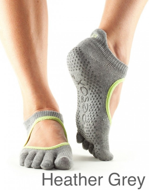 Full-Toesox BELLARINA S / Heather Grey with Lime Trim