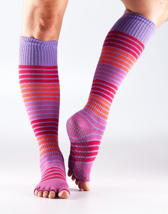 Half Toesox Scrunch Knee High S / Hulahoop (Dark Pink with Stripes)