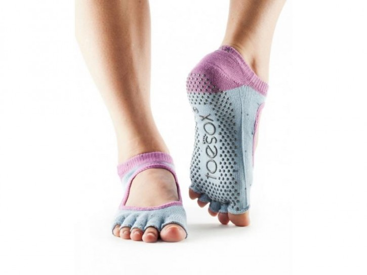 Half-Toesox BELLA S / Polka (pigeon grey with lilac border)