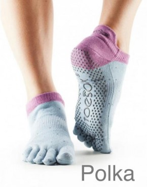 Full-Toesox LOWRISE M / Polka (pigeon grey with lilac border)
